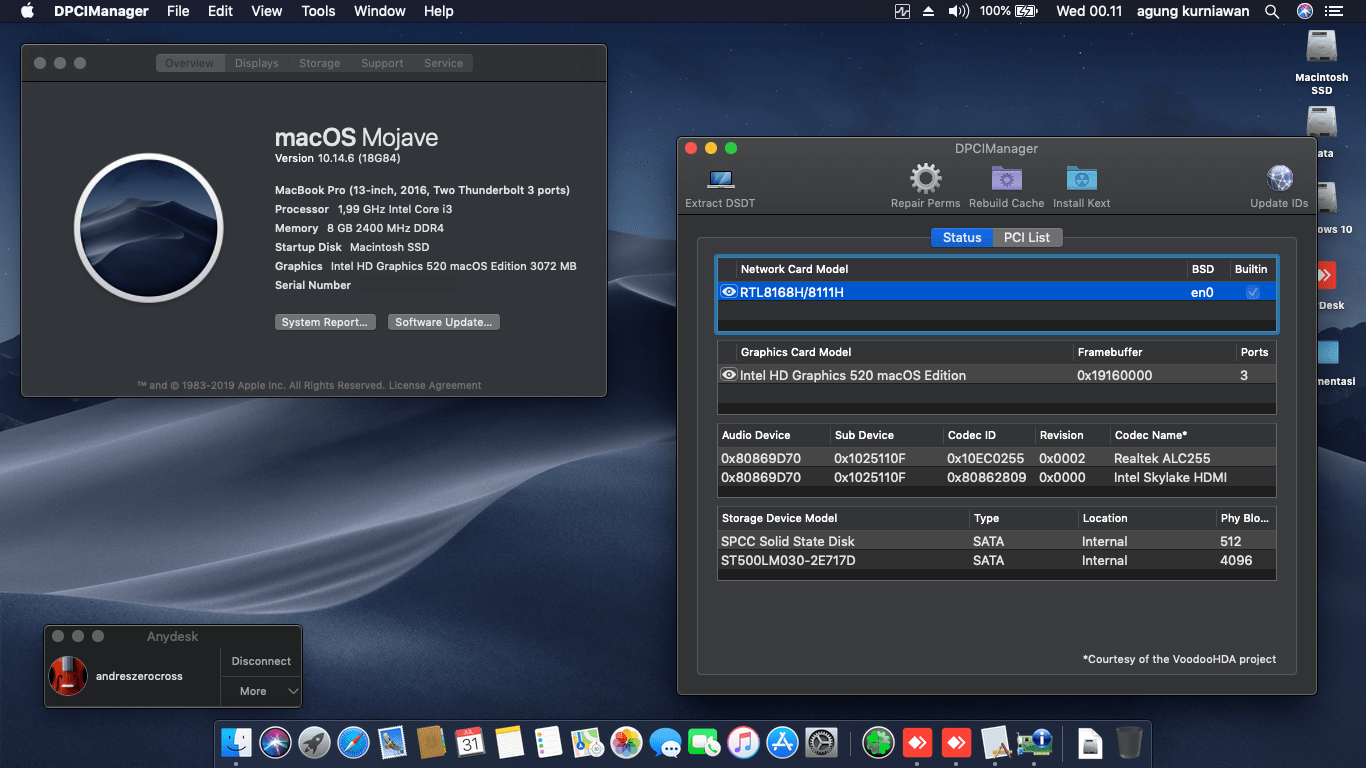 Success Hackintosh macOS Mojave 10.14.6 Build 18G84 at Acer E5-475G-38LQ